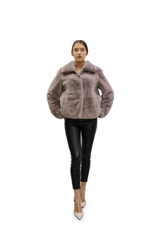 Късо дамско палто с дълги ръкави от естествен косъм от заек Рекс