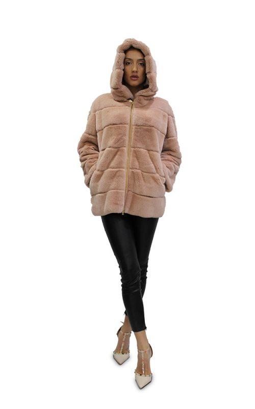 Късо дамско палто с дълги ръкави и качулка в бежов цвят от естествен косъм от заек Рекс