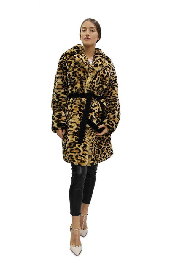 Дълго дамско палто с леопардов десен тип халат от естествен косъм от заек Рекс