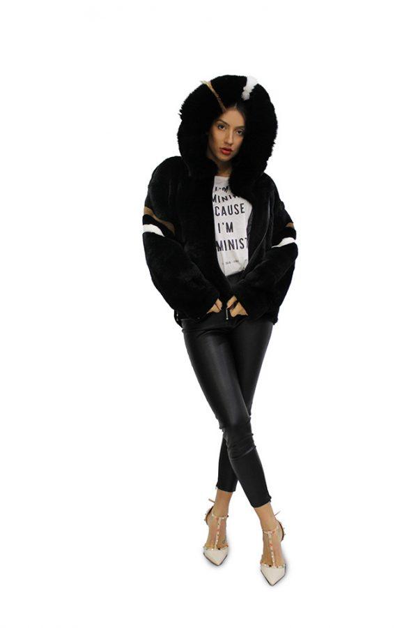 Дамско палто от Рекс и Късо дамско палто с дълги ръкави от естествен косъм от заек Рекс