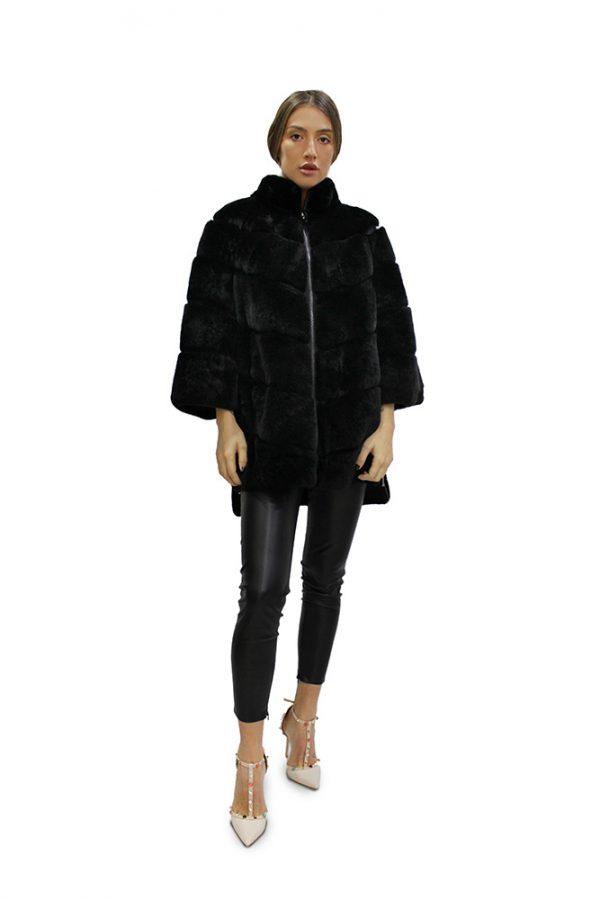 Дамско асиметрично черно палто