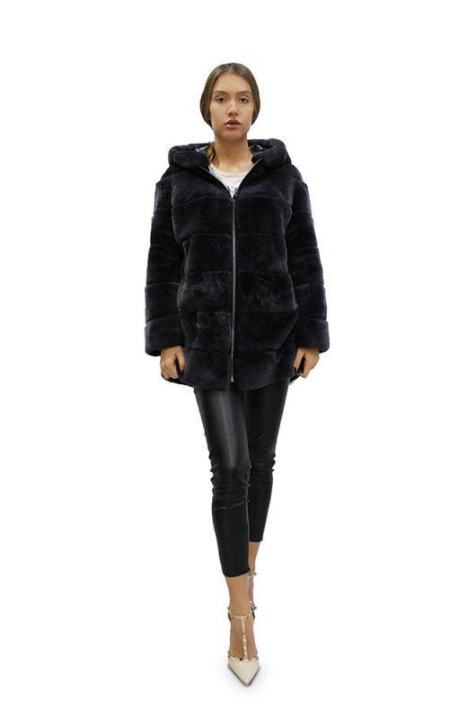 Дамско палто с дълги ръкави и качулка в черен цвят от естествен косъм от заек Рекс