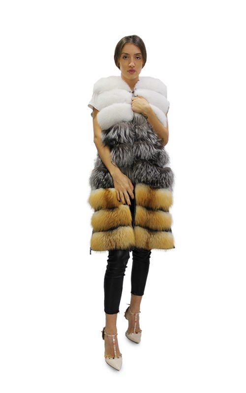 Дълъг дамски елек в комбинация от бяла,червена и сребърна лисица