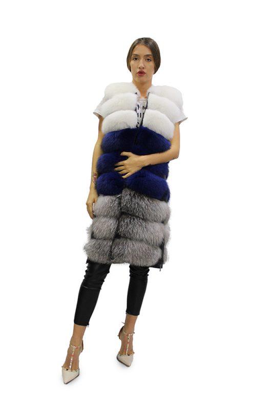 Дълъг дамски елек в комбинация бяла и сребърна лисица