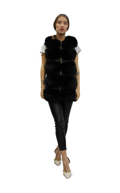 Къс дамски елек в черно от естествен косъм от лисица