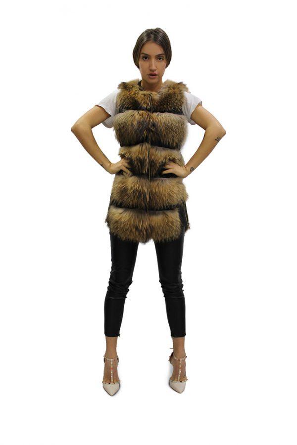 Къс дамски елек от естествен косъм от лисица в натурален цвят