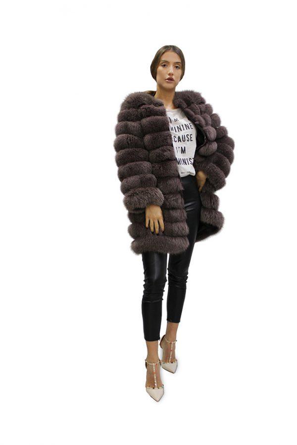 Дълго дамско палто от естествен косъм от лисица с дълги ръкави в цвят антрацит