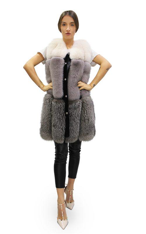 Дълъг дамски елек в комбинация от бяло, млечно сиво и антрацит от естествен косъм от заек рекс
