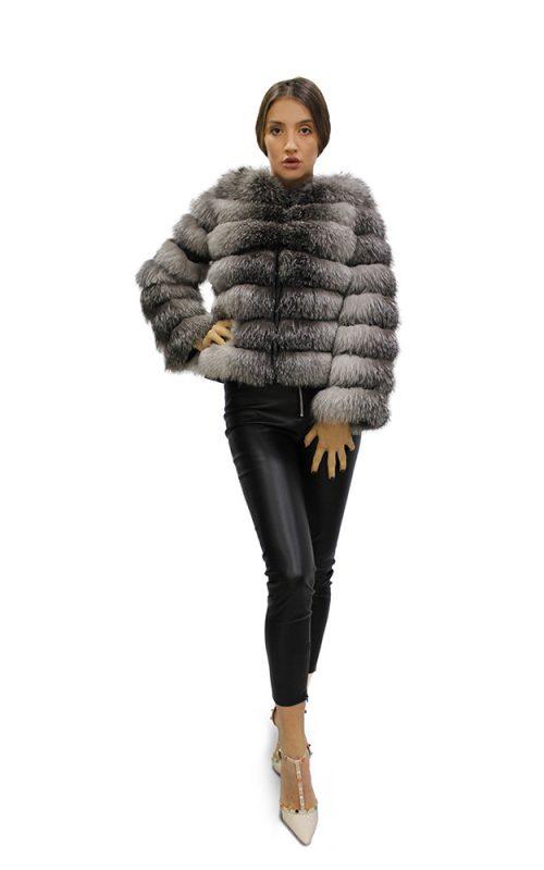 Късо дамско палто с дълги ръкави от естествен косъм от сребърна лисица