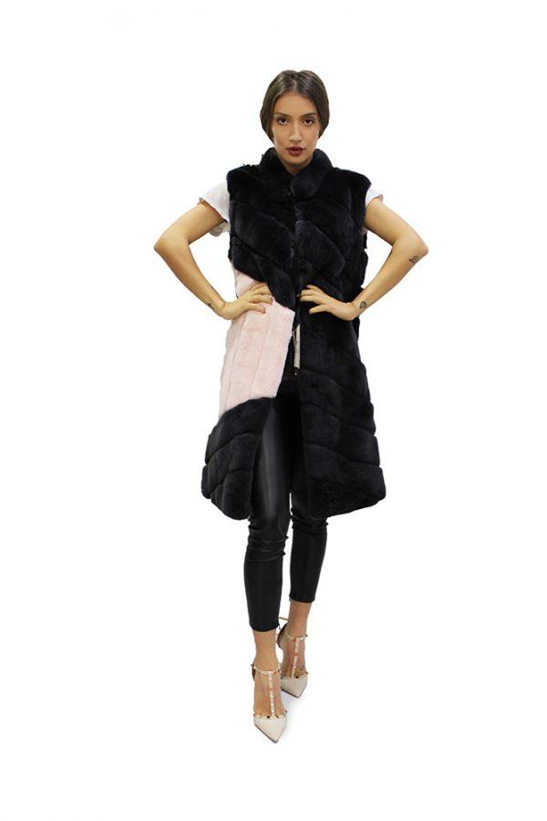 Дълъг дамски елек в комбинация от черен цвят и пудра от естествен косъм от заек рекс