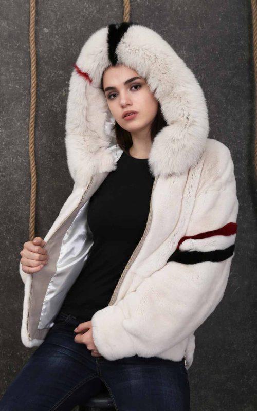 Късо дамско палто от естествен косъм от рекс