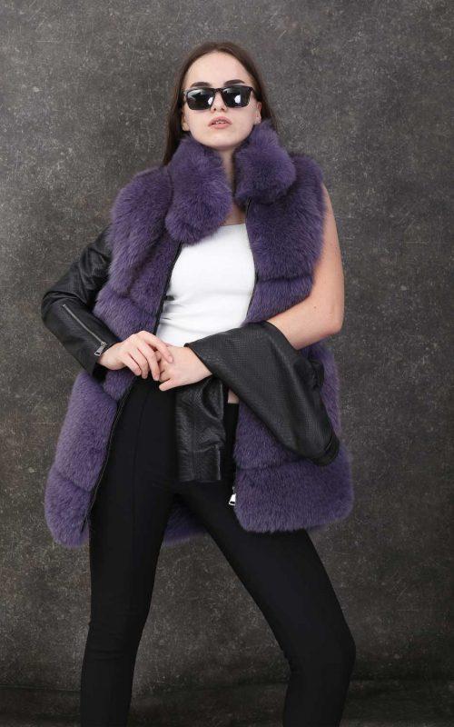 Дамско палто с висока яка от естествен косъм от лисица