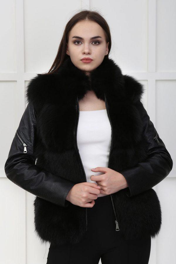Къс черен кожен елек от естествен косъм от лисица