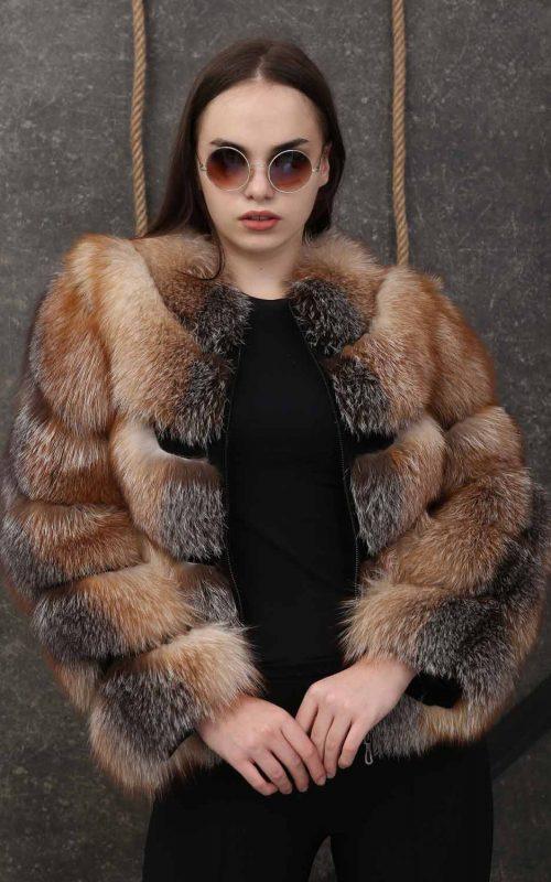 Класическо дамско палто от естествен косъм от лисисца