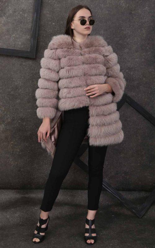 Класическо дълго кожено палто от естествен косъм от лисица в бежово