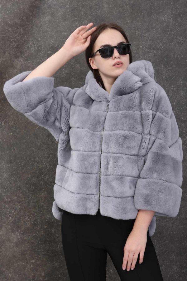 Елегантно късо кожено палто от естествен косъм от рекс