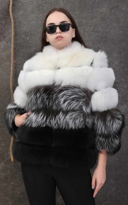 Естествен косъм от сребърна, бяла и черна лисица
