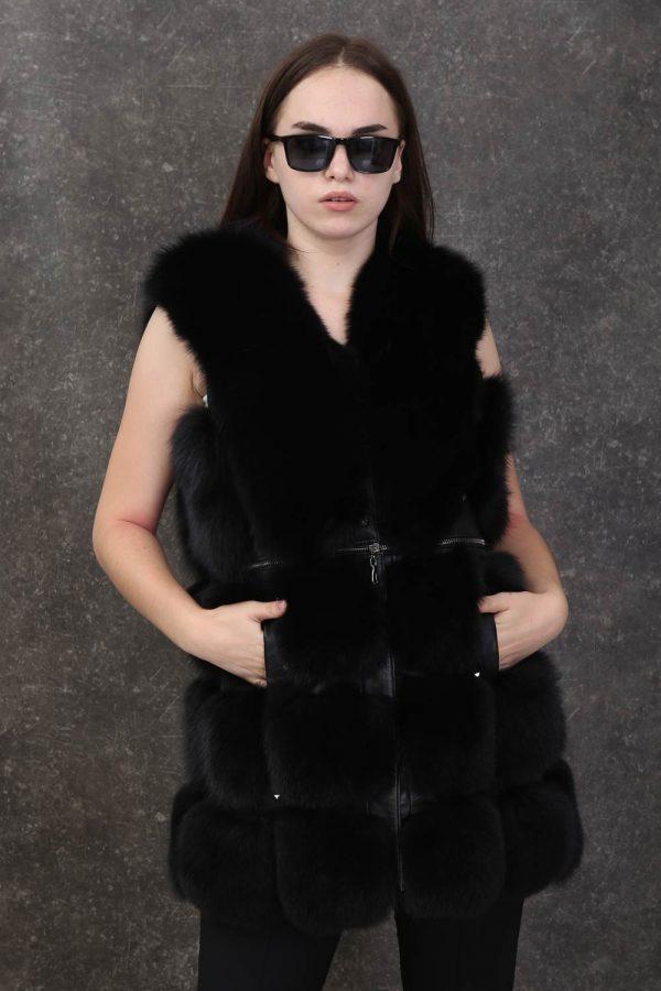 Класически дамски кожен елек от естествен косъм от лисица