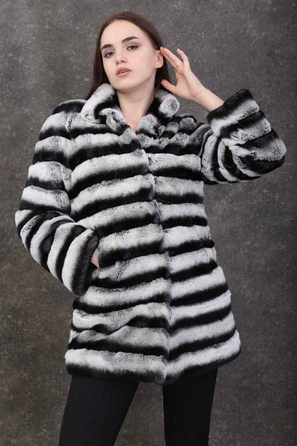 Палто от рекс в цвят чинчила